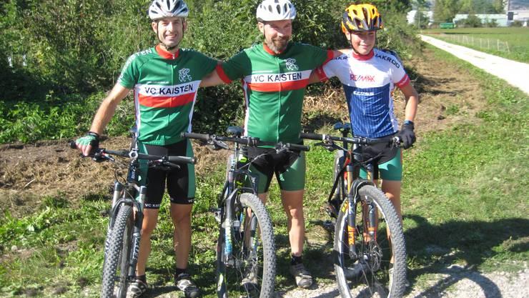 Die ersten Drei vom Hauptrennen: v.l. Marcel Herzog (2.), Adrian Näf (1.), Tim Brutschi (3.