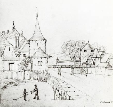 Die alte Holzbrücke mit dem Hürligturm (l.) und dem Wassertor und Haffnersturm (r.).