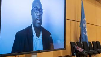 Philonise Floyd, Bruder des durch Polizeigewalt getöteten George Floyd, spricht per Videobotschaft bei der 43. Sitzung des Menschenrechtsrates im europäischen Hauptsitz der Vereinten Nationen. Foto: Martial Trezzini/KEYSTONE/dpa