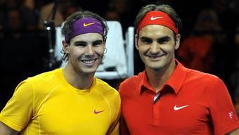 Rafael Nadal und Roger Federer beim ersten Match for Africa im Jahr 2010.