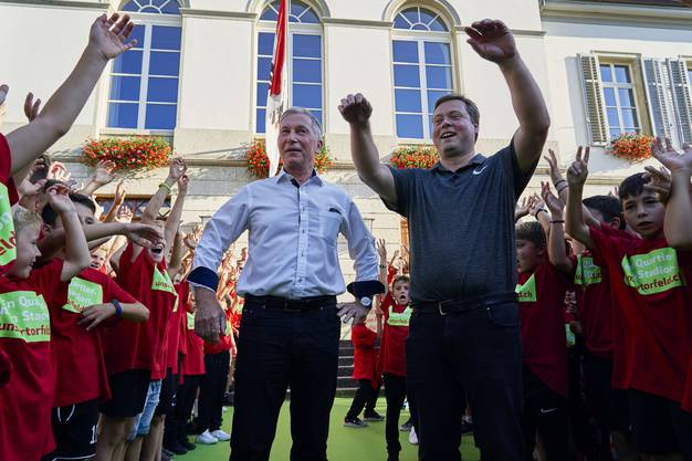 """aufgenommen vor der Stadion Debatte des Einwohnerrat Aarau am 26. August 2019. """"mein stadion, mein quartier, unsertorfeld.ch"""""""