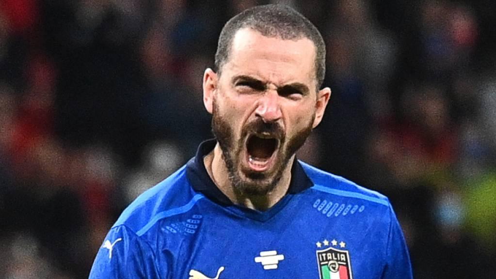 Wie die Löwen: Italiens Abwehrchef Leonardo Bonucci nach seinem verwandelten Penalty.