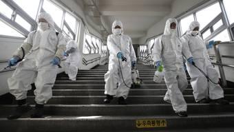 Sie stemmen sich dem Virus entgegen: Reinigungsarbeiter in Seoul mit Desinfektionsspray. Südkorea scheint den KAmpf gegen das Virus zu gewinnen.