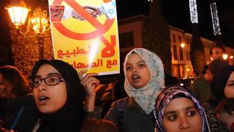 Muslimische Aktivsten und pro-palästinensische Organisationen protestierten am Mittwoch gegen die Präsenz Israels an der Klimakonferenz in Marrakesch.