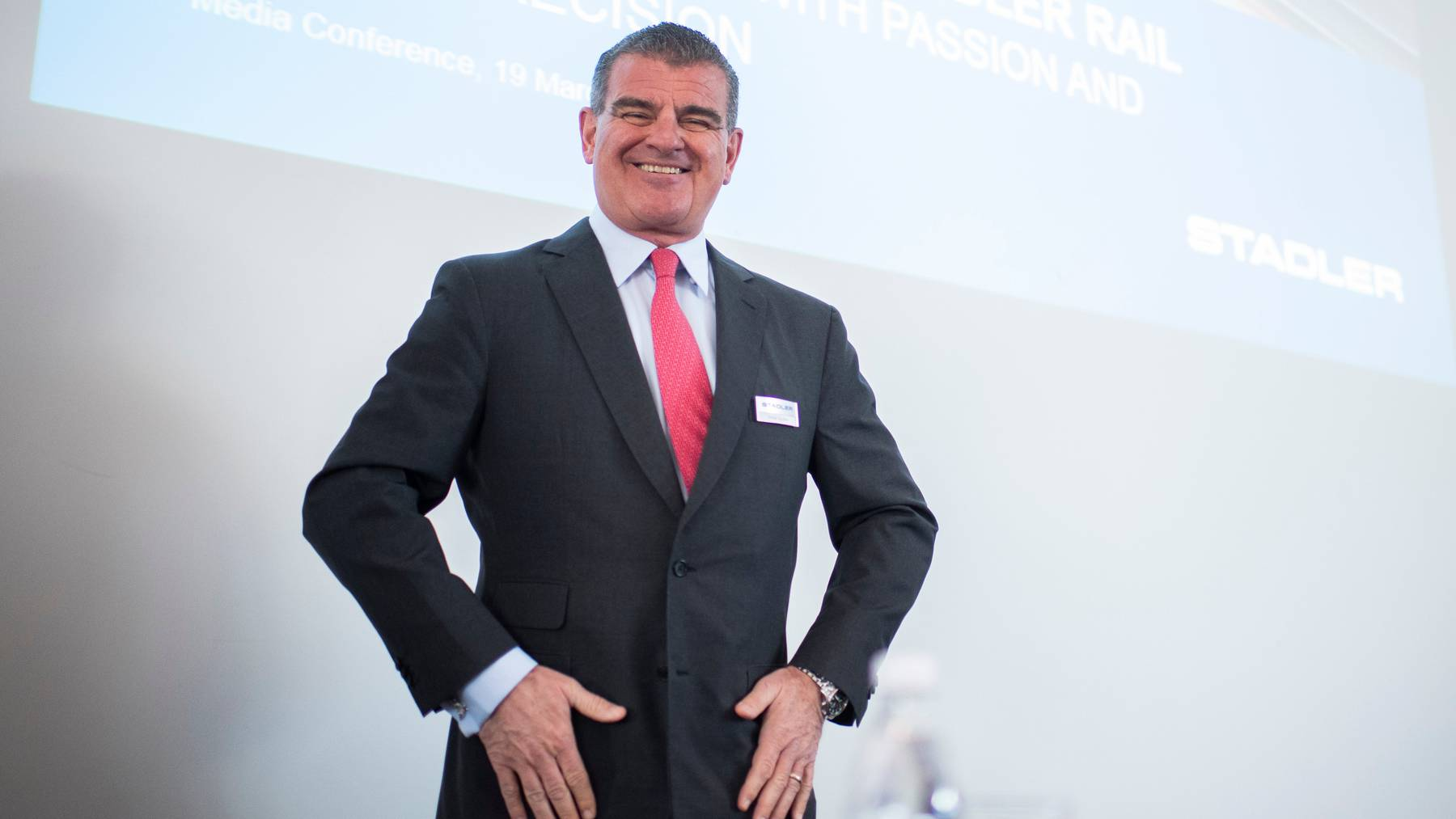 Verwaltungsratspräsident Peter Spuhler an der letzten Bilanzmedienkonferenz von Stadler Rail 2019.