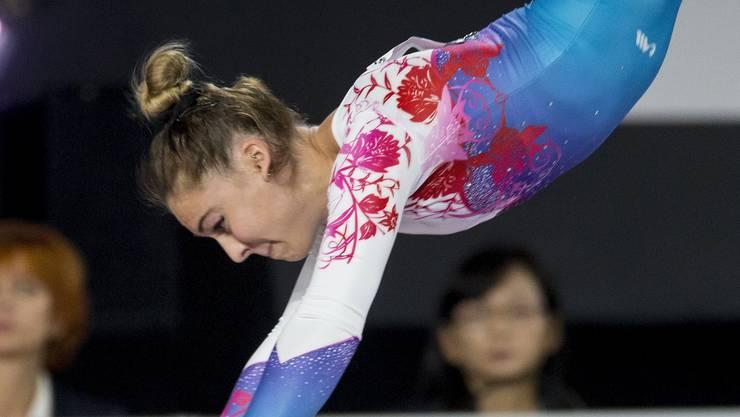 Giulia Steingruber beim Medaillen-Sprung.