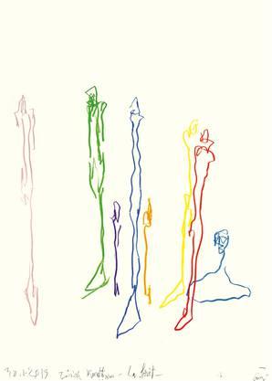 Guillaume Bruère: Zeichnung nach Alberto Giacometti, 2013.