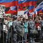 Die Sicherheitskräfte haben die Demonstranten am Samstag in Moskau aktiv begleitet.