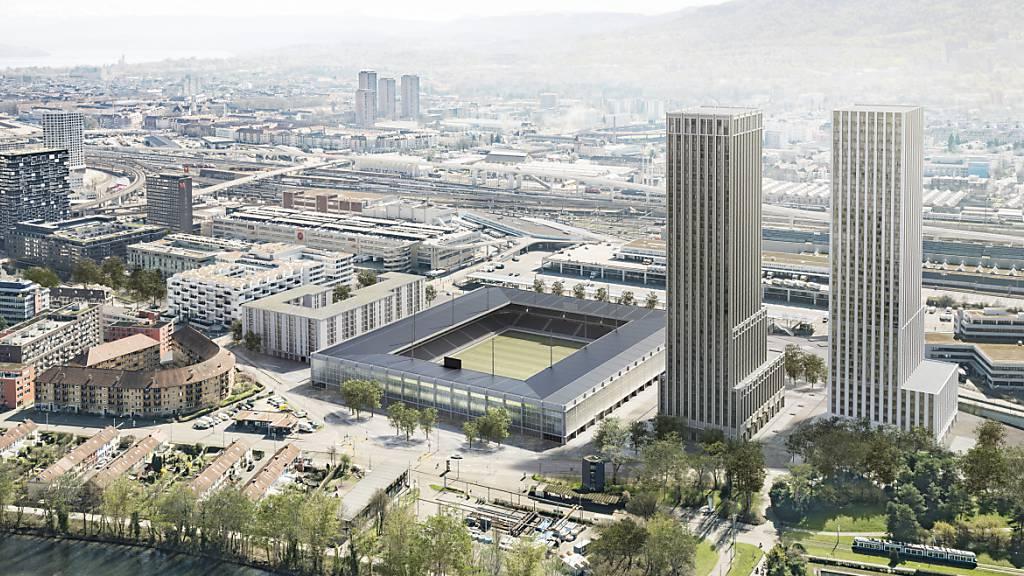 Das geplante Fussballstadion mit zwei Wohnhochhäusern. (Visualisierung)