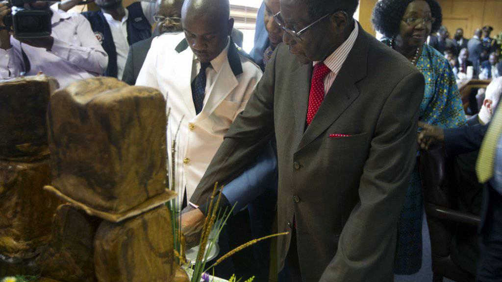 Robert Mugabe am Dienstag beim Anschneiden seiner Geburtstagstorte.