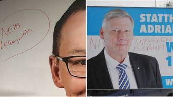 Manche Bürger nehmen den Wahlkampf als Anlass für Vandalismus. Von den Kandidaten Leimgrübler und Steffen wurden Plakate beschädigt, die an besonders prominenten Orten stehen.