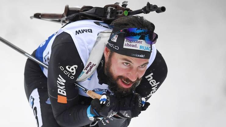 Benjamin Weger während dem Biathlon Weltcup Sprint in Oberhof.