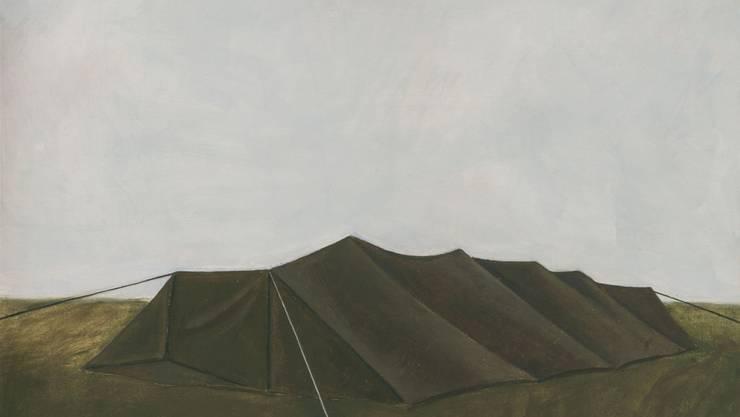 """Das Ölgemälde """"Zelt I"""" (1969) von Hugo Suter ist in der Ausstellung """"Blinde Passagiere"""" im Aargauer Kunsthaus in Aarau zu sehen. Die Schau dauert vom 27. Januar bis 15. April 2018."""