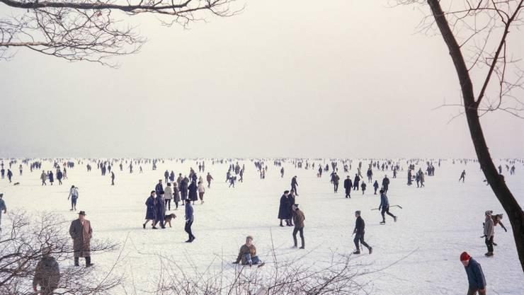 Im Winter 1963 fror der Zürichsee das letzte Mal zu, so dass die Eisdecke für die Bevölkerung begehbar wurde.