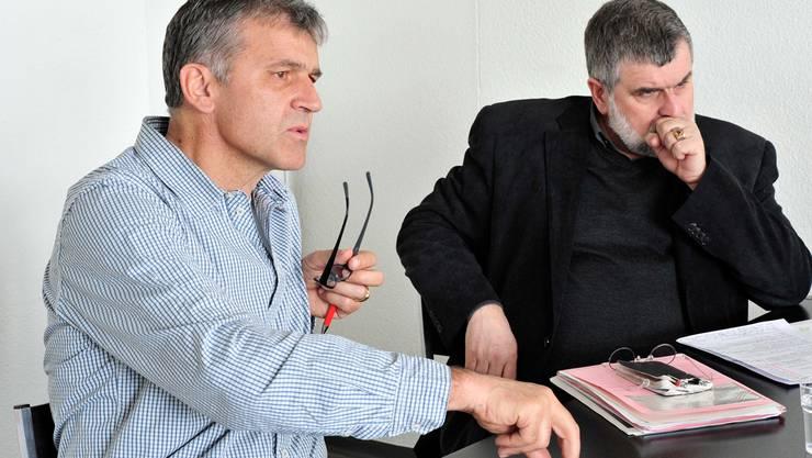 Ueli Kleiner, Gesamtleiter Direktion Bildung und Sport und Mario Clematide, alt Vorsteher der Bildungsdirektion