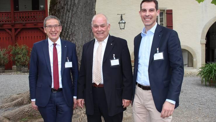 Regierungsrat Urs Hofmann, AGVS-Präsident Martin Sollberger und Nationalrat Thierry Burkart. (v.l.n.r.) Foto CRC