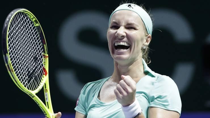 Hat allen Grund zur Freude: Die Russin Swetlana Kusnezowa bejubelt ihren zweiten Sieg innert zwei Tagen bei den WTA Finals in Singapur