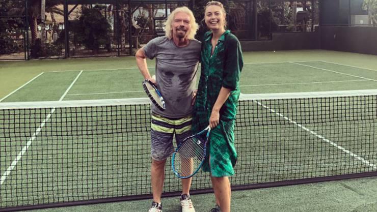 Richard Branson mit Tennisspielerin Maria Sharapova