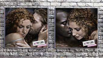 """Plakat der """"Love Life""""-Kampagne des Bundesamts für Gesundheit, mit dem es auf Geschlechtskrankheiten aufmerksam macht und an die Safer-Sex-Regeln erinnert."""