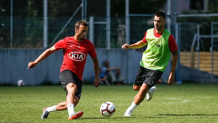 Goran Karanovic im Training des FC Aarau auf dem Trainingsplatz des Stadion Brügglifeld in Aarau. (16. Juli 2018)