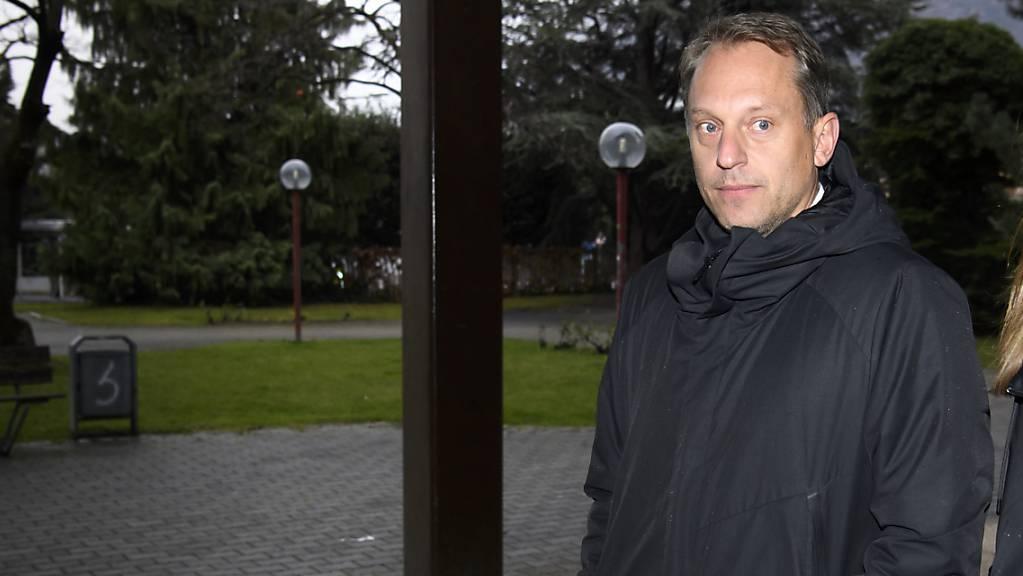 Der ehemalige Schweizer Tennisprofi Yves Allegro im Dezember 2019 vor dem Strafgericht in Siders. Der 42-jährige Walliser wurde wegen sexueller Nötigung zu zwei Jahren Gefängnis auf Bewährung verurteilt