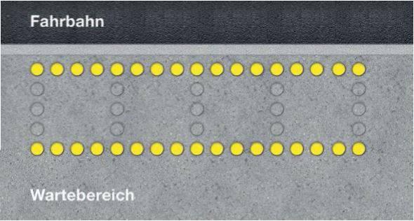 Die gelben Lichtreihen sind parallel zur Fahrbahn angebracht und zeigen dem Velofahrer seinen Durchfahrtskorridor an. Der Wartebereich für öV-Pendler befindet sich ausserhalb der Signalisation.