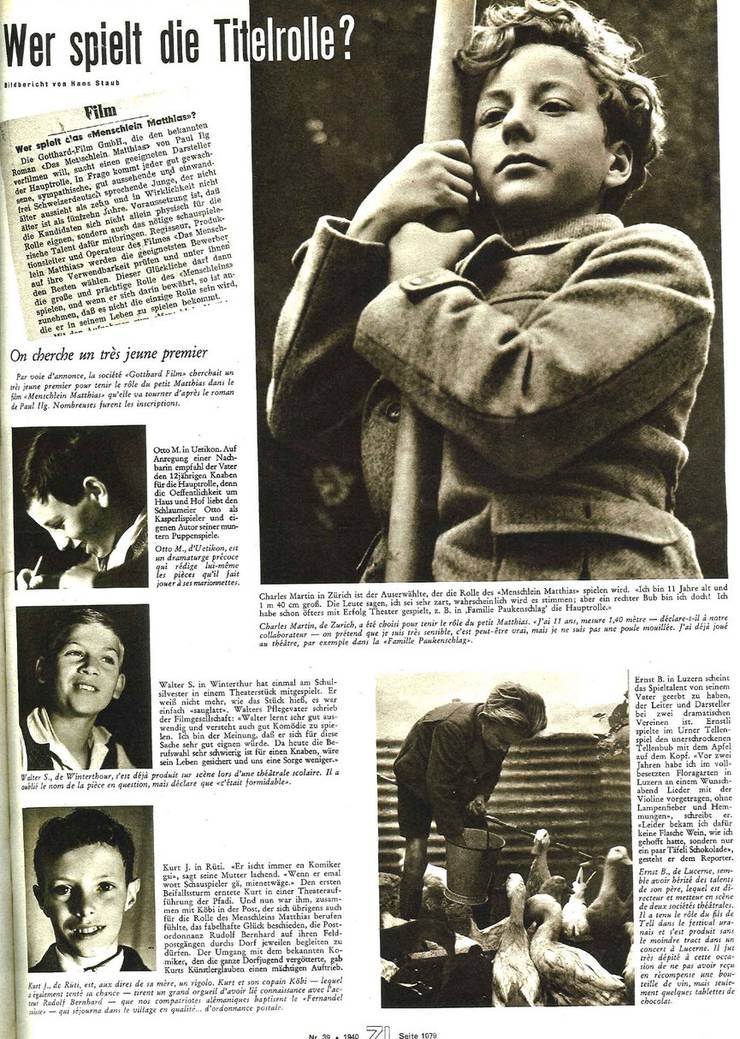 Charles Martin (rechts oben) wird im Dezember 1940 als Titelheld für «Das Menschlein Matthias» vorgestellt.