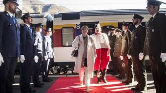 Marina Carobbio bei ihrem offiziellen Empfang im Tessin am Mittwoch am Bahnhof von Bellinzona.