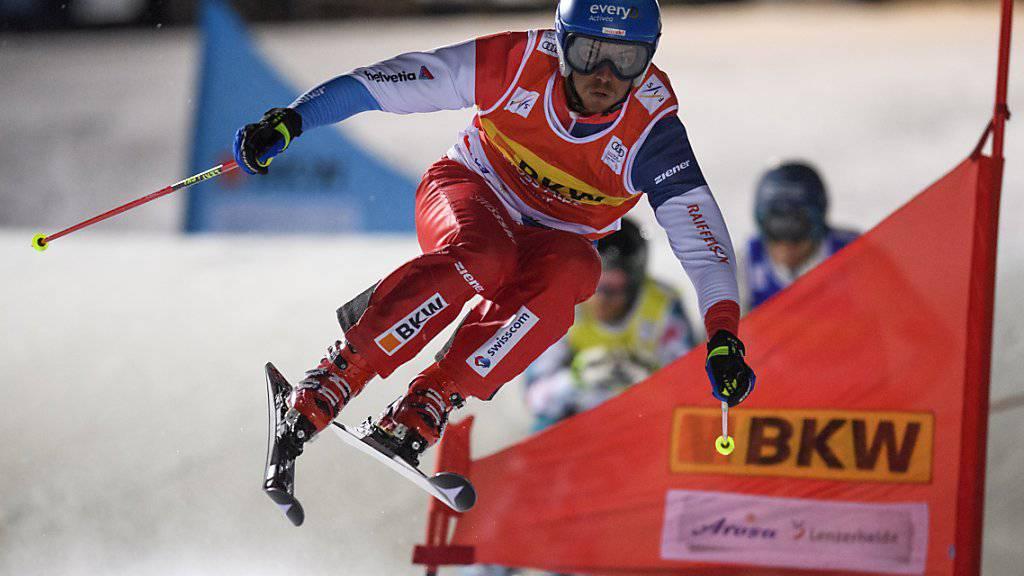 Romain Détraz auf dem Weg zum Sieg beim Skicross-Sprint in Arosa