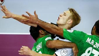Deutschland (Matthias Musche/am Ball) erreicht an der WM die Top 8