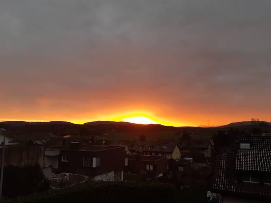 Abend Stimmung über Fislisbach 3 Januar 19