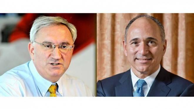 Jean-Paul Clozel (Actelion, links) und Joseph Jimenez (Novartis). Foto: KEY/EFU