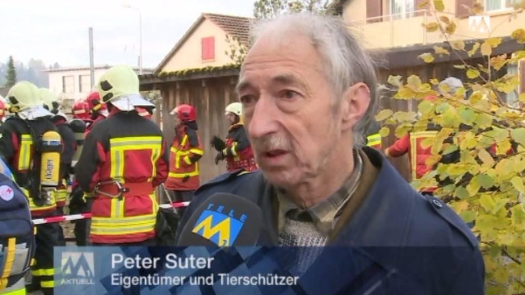 Das Haus von Tierschützer Suter in Schöftland brennt