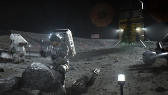 Nasa-Illustration der Mondlande-Mission von 2024. Das Landefahrzeug (rechts) wollen Elon Musks Firma SpaceX und Blue Origin des Amazon-Gründers Jeff Bezos bauen. Boeing ist dagegen aus der Ausschreibung ausgeschieden. (Nasa)