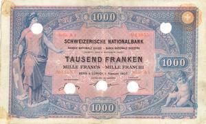 1907 kam diese 1000er-Note in Umlauf, 1925 wurde sie zurückgerufen.