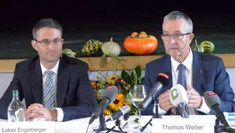 Haben eine Riesenkiste angepackt – und stehen nun vor etlichen Baustellen: Die Gesundheitsdirektoren Lukas Engelberger (BS, links) und Thomas Weber (BL).