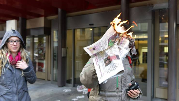 Demonstration gegen Artikel von Blick am Abend