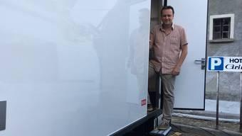 Telefonjasser Philipp Zimmermann jasste für Klingnau im SRF-Wagen.