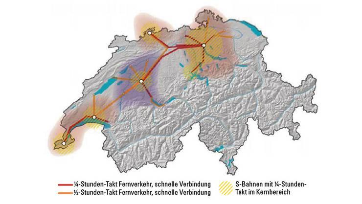 Zwischen Basel, Zürich und Bern sowie rund um die Agglomerationen herum könnte in Zukunft ein 15-Minuten-Takt gelten.