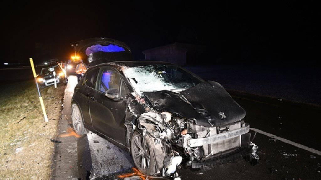 Totalschaden: Der Personenwagen war in der Dunkelheit mit drei Pferden kollidiert.