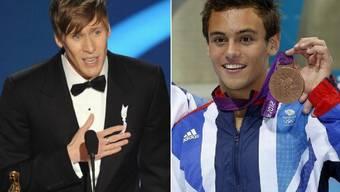 Der US-Oscar-Preisträger Dustin Lance Black (l) und der britische Bronzemedaillengewinner im Turmspringen, Tom Daley (r) sind Eltern geworden. (Archivbilder 2008/2009)