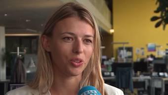"""Karin Bertschi im Beitrag von """"Tele M1""""."""