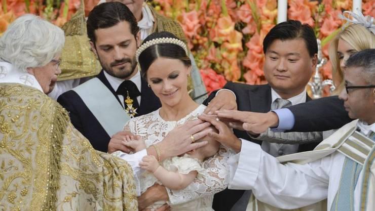 Die Taufe des kleinen Prinzen Alexander am Freitag auf Schloss Drottningholm.