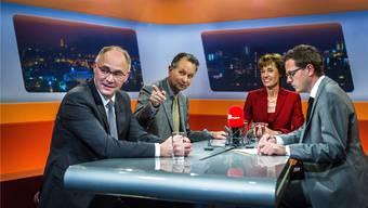 Wer gewinnt die Wahl? Hansjörg Knecht, Philipp Müller und Ruth Humbel mit «TalkTäglich»-Moderator Christian Dorer (v.l.).Iseli
