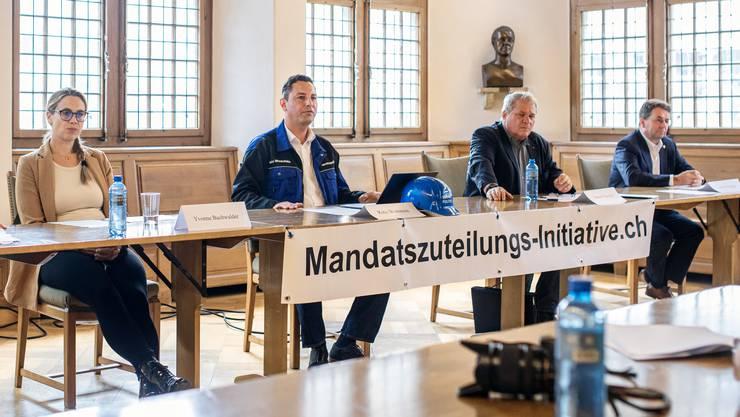 Martin Gautschi, Yvonne Buchwalder, Reto Wettstein, Daniel Knecht und Willi Wengi (von links) wollen um den verlorenen Brugger Grossratssitz kämpfen.