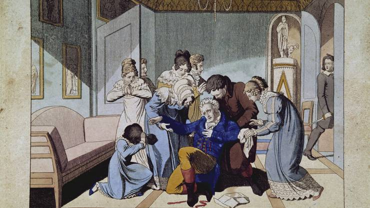 Zeitgenössische Darstellung des Attentats von Karl Ludwig Sand )hinten rechts) auf den Dramatiker August von Kotzebue.