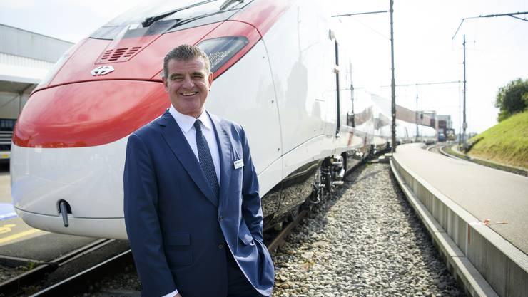Wäre laut Stadler Rail mit privatem Geld eingesprungen: Patron Peter Spuhler, hier bei der Einweihung des Schnellzugs «Giruno» am 18. Mai in Bussnang.