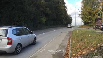 Die Pflöcke in der Böschung markieren die Ausweitung der Kantonsstrasse. Wo das Auto (rechts im Bild) herkommt, soll eine neue Zufahrtsstrasse erstellt werden.