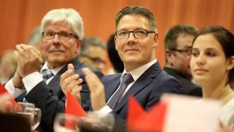 Roland Fürst (CVP) feiert den Einzug in die Solothurner Regierung in Gunzgen