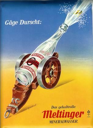 Mit diesem und anderen Plakaten wurde das Meltinger Mineralwasser früher in der Region beworben.